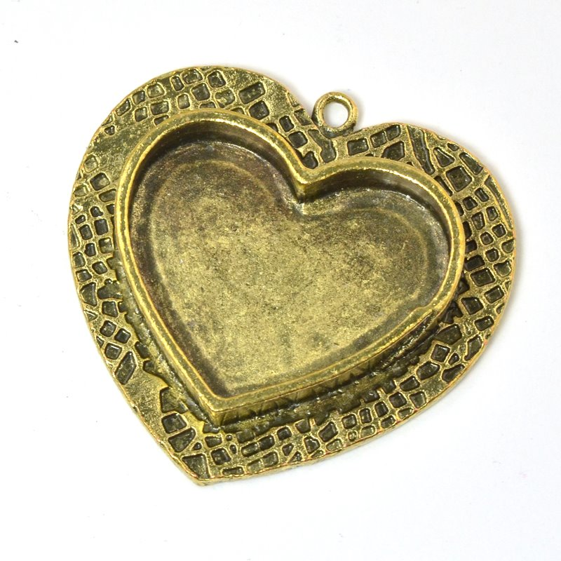 s58732 Resin Bezel - Medium Milan Heart - Antiqued Bronze