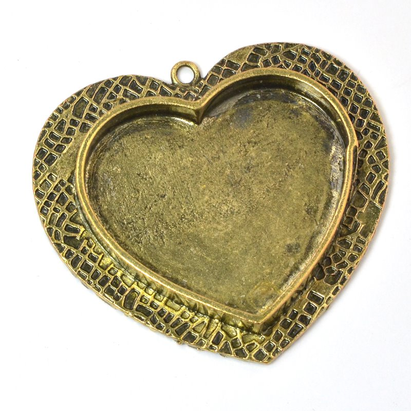 s58733 Resin Bezel - Large Milan Heart - Antiqued Bronze
