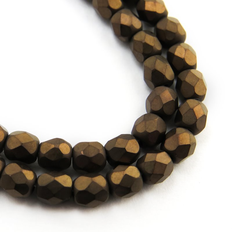 s58750 Firepolish - 4 mm Faceted Round - Matte Dark Bronze (Strand 50)