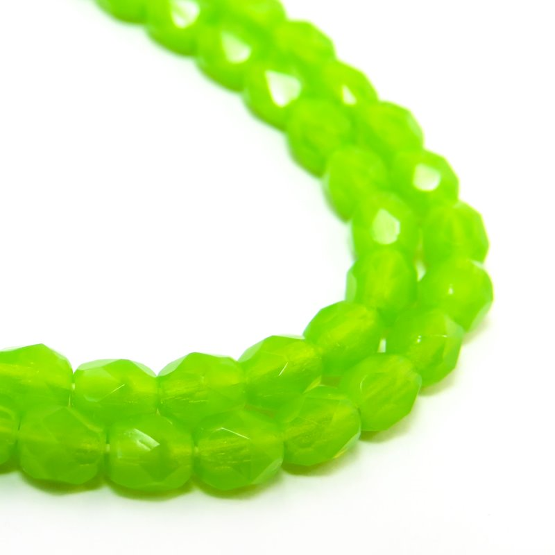 s58753 Firepolish - 4 mm Faceted Round - Lime Green Opal (Strand 50)
