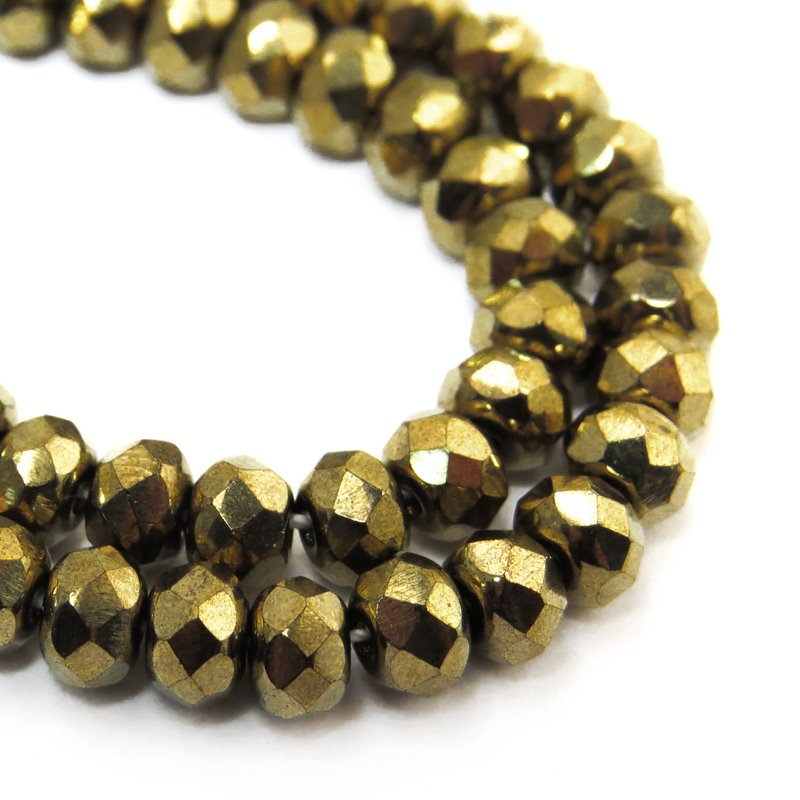 s58754 Czech Glass - 5 x 3 mm Faceted Donut Rondelle - Bronze Gold (30)