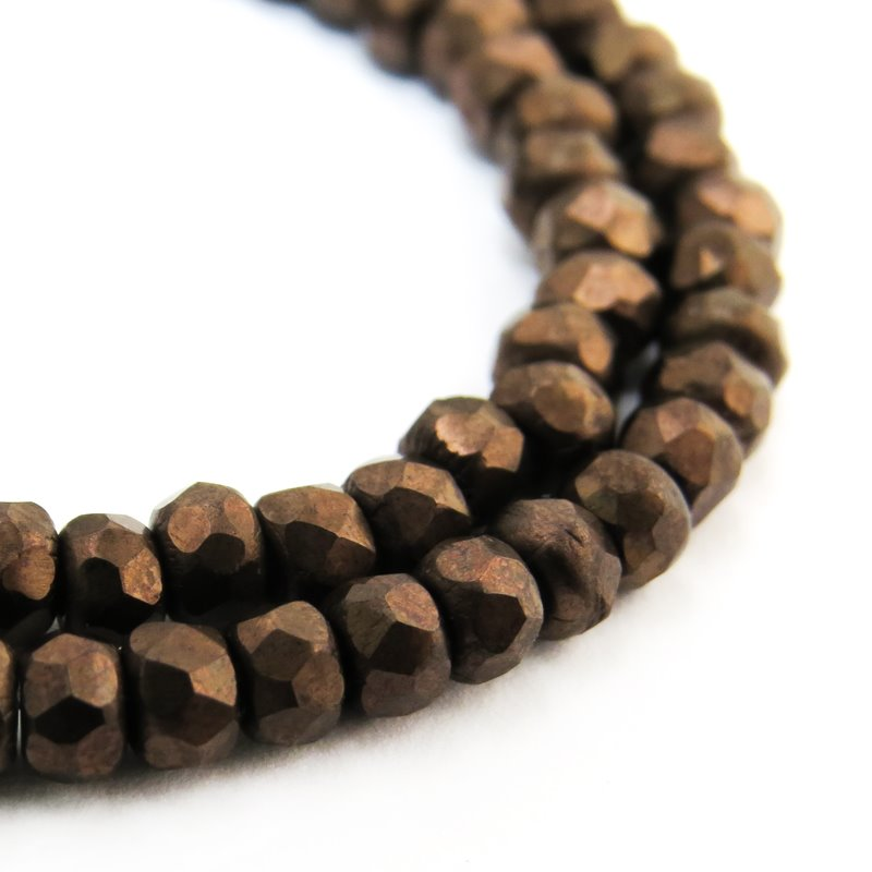 s58755 Czech Firepolish Glass - 3 x 2 mm Faceted Donut Rondelle - Matte Dark Bronze (Strand 50)