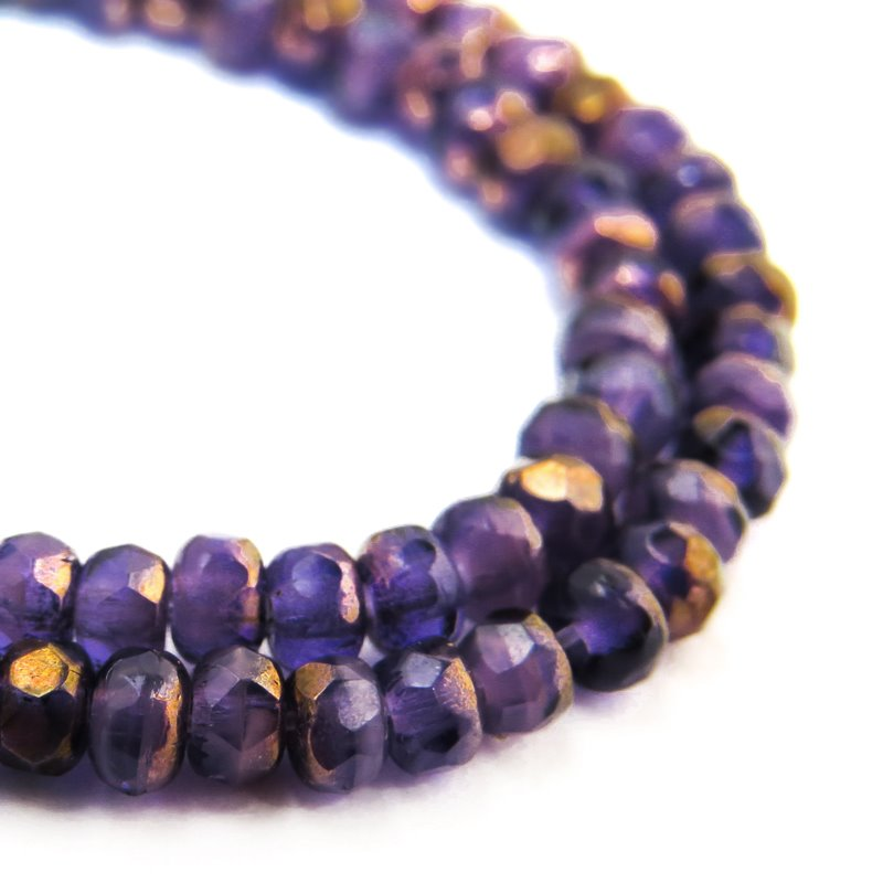 s58756 Czech Firepolish Glass - 3 x 2 mm Faceted Donut Rondelle - Tanzanite Mix Bronze (Strand 50)