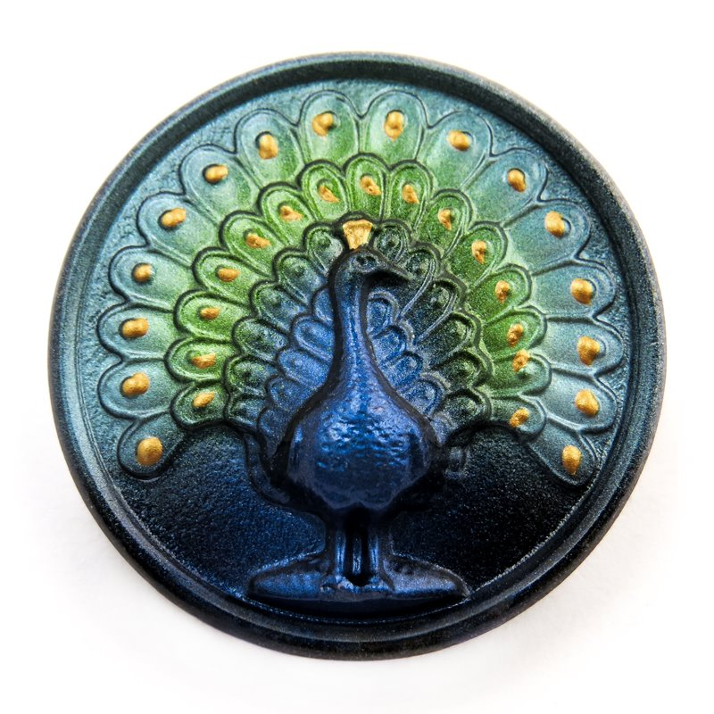 s58757 Czech Glass Button - 33 mm Magnificent Peacock - Utterly Me
