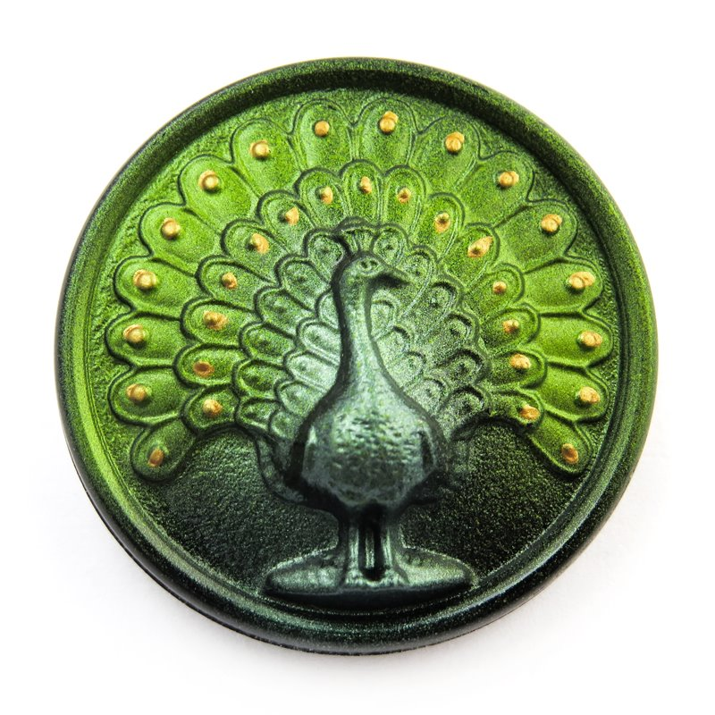 s58759 Czech Glass Button - 33 mm Magnificent Peacock - Call Me Mr Green