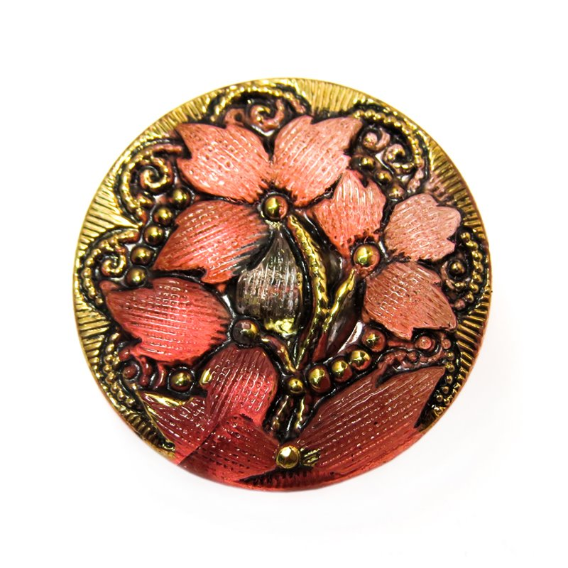 s58761 Czech Glass Button - 18 mm Lacy Flower - Carnelian Old Gold