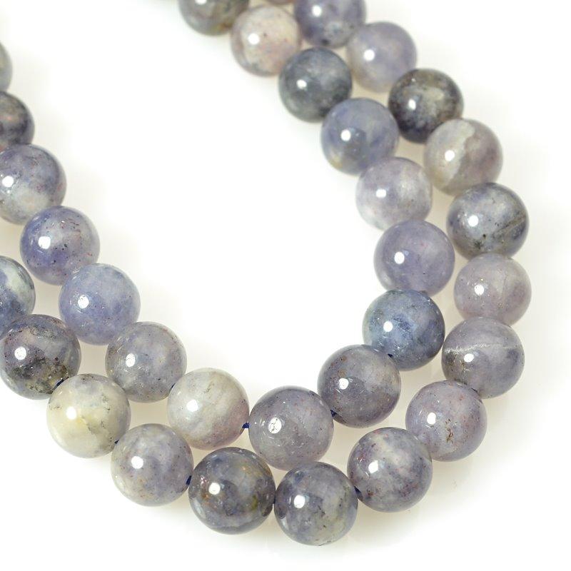 s58769 Stone Beads - 8mm Round - Iolite (strand)