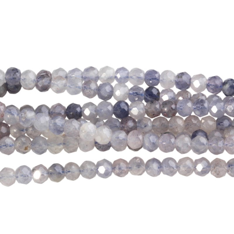 s58771 Stone Beads - 4 mm Faceted Rondelles - Iolite (strand)