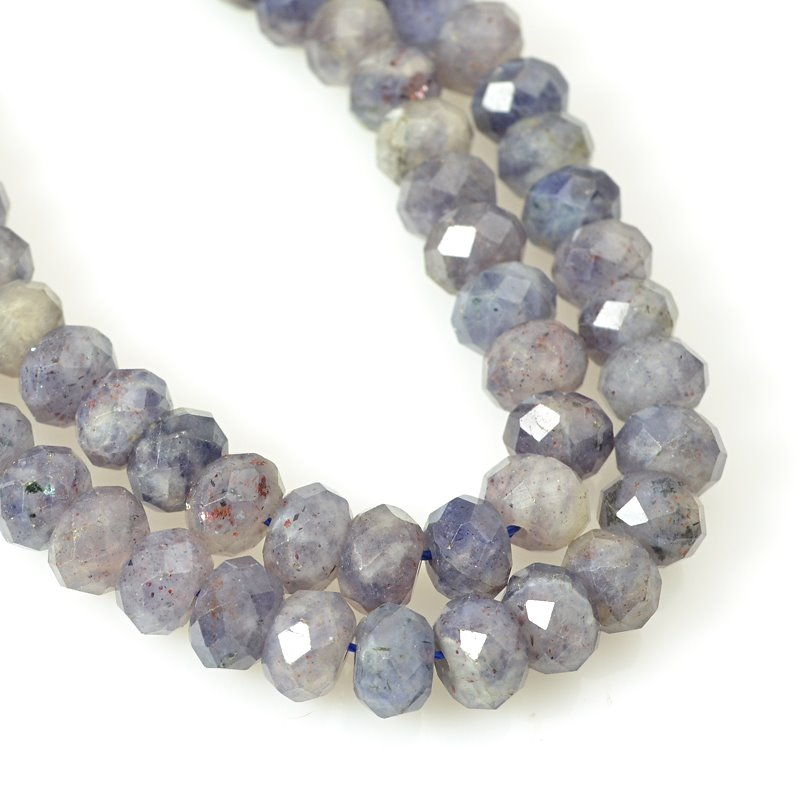 s58772 Stone Beads - 8mm Faceted Rondelles - Iolite (strand)