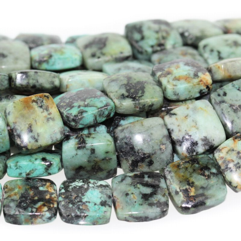 s58775 Stone Beads - 12 mm Square - African Turquoise (strand)