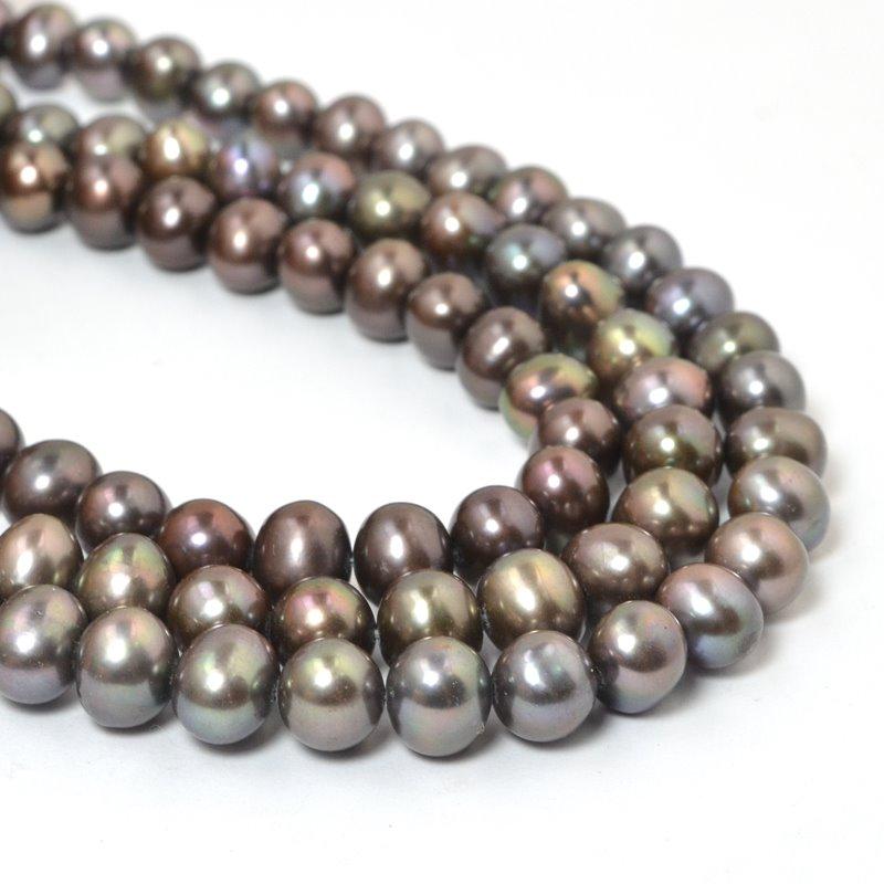 s58875 Freshwater Pearls - 9 x 7.5 mm Potato Pearl - Peacock Bronze (strand)