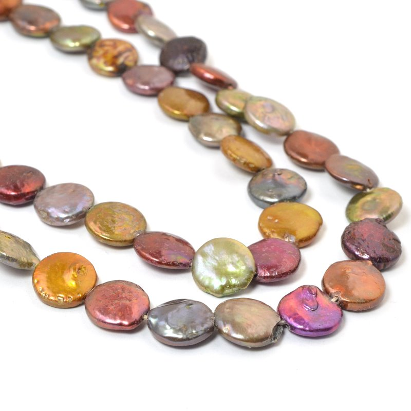 s58877 Freshwater Pearls - 12 mm Coin Pearl - Metallic Mix (strand)