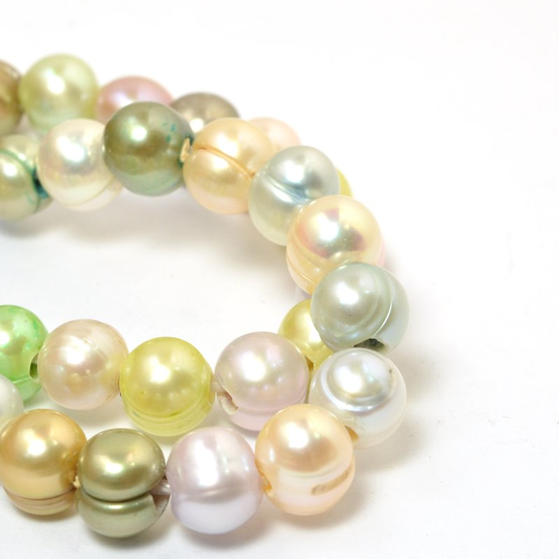 s58879 Freshwater Pearls - 11x9mm Potato Pearl - Big Hole - Macaroon Mix (strand)