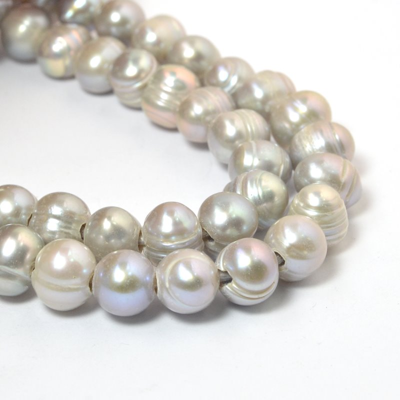 s58883 Freshwater Pearls - 11x9mm Potato Pearl - Big Hole - Light Platinum Pearl (strand)