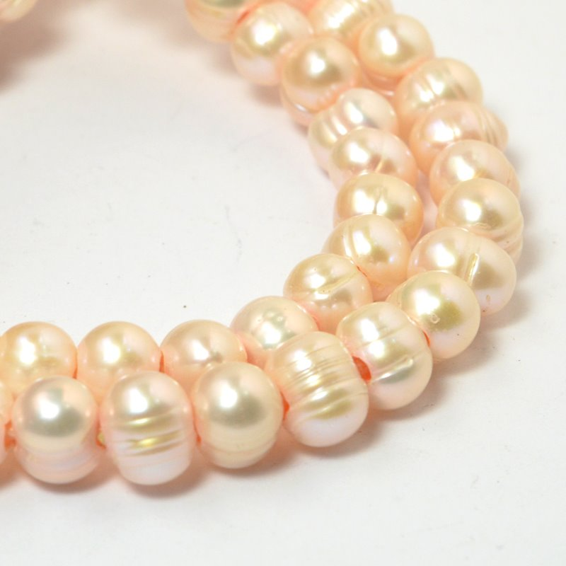 s58884 Freshwater Pearls - 9x7mm Potato Pearl - Big Hole - Cream Rose (strand)