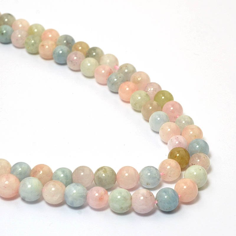 s58972 Stone Beads - 6 mm Rounds - Morganite (strand)