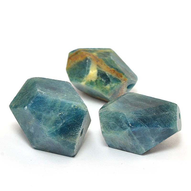 s58978 Stone Beads - x 16-18 mm Faceted Nuggets - Apatite