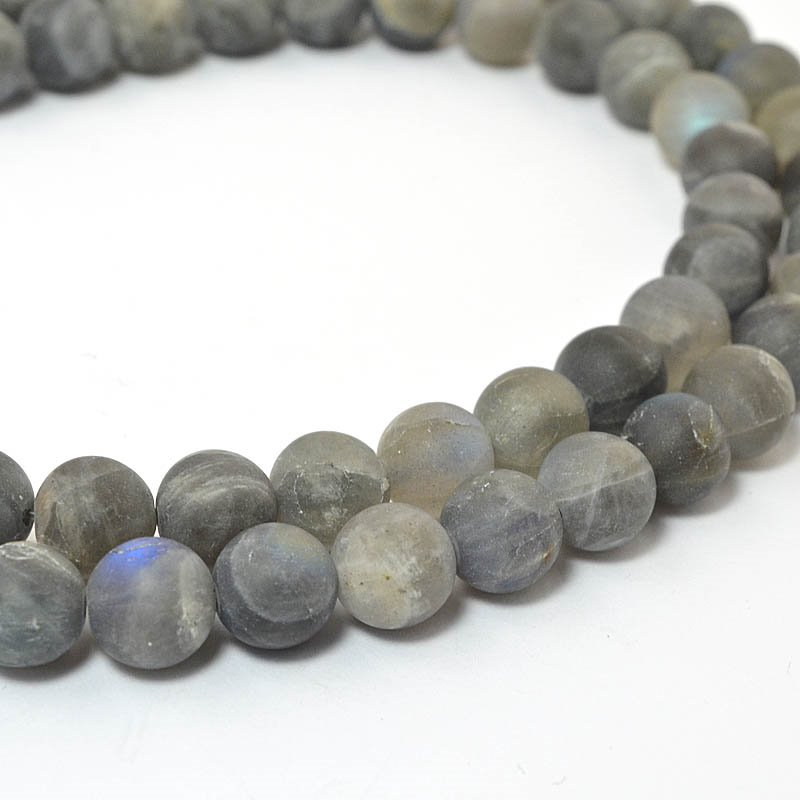s58984 Stone Beads - 8 mm Faceted Round - Matte Labradorite (strand)