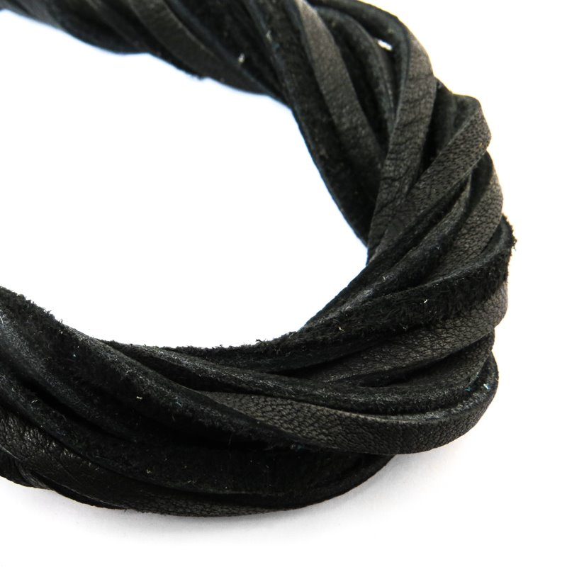 s59055 Leather - 3 mm Leather Strip - Raven