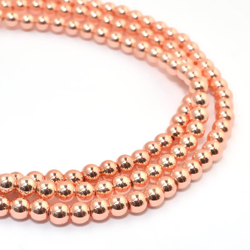 s59272 Stone Beads - 4 mm Round - Rose Gold Metallic Hematite (strand)