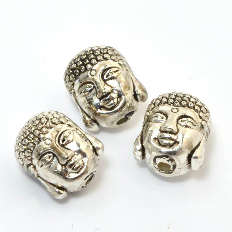 s59275 Metal Beads - Buddha Head - Antiqued Silver