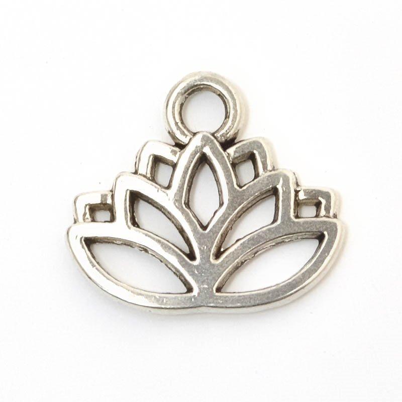 s59279 Charm/Pendant - Lotus - Antiqued Silver