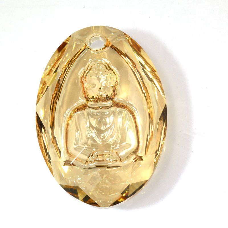 s59298 Swarovski - 28 mm Carved Buddha Pendant - Crystal Golden Shadow