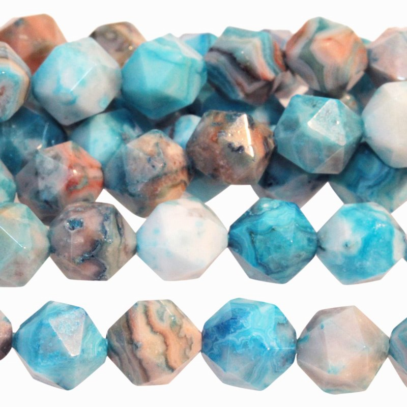 s59300 Stone Beads - 8 mm Star Cut Round - Sky Blue Crazy Lace Agate (Dyed) (strand)
