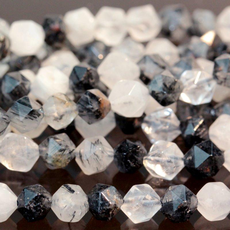 s59301 Stone Beads - 6 mm Star Cut Round - Black Tourmalinated Quartz (strand)