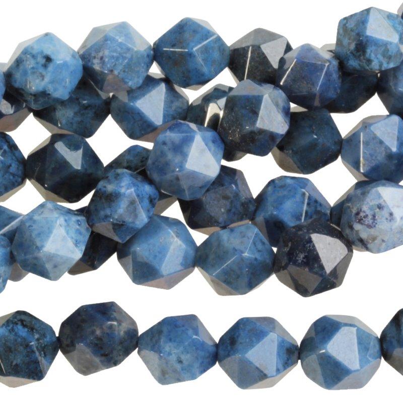 s59303 Stone Beads - 8 mm Star Cut Round - Sunset Dumortierite (strand)