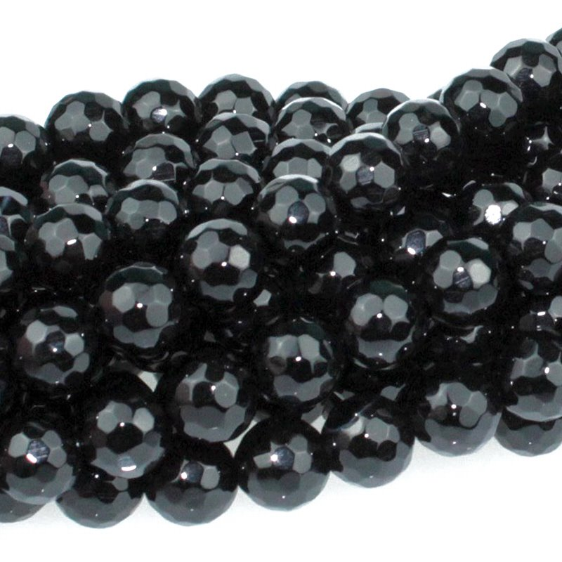 s59304 Stone Beads - 8 mm Faceted Round - Onyx (strand)