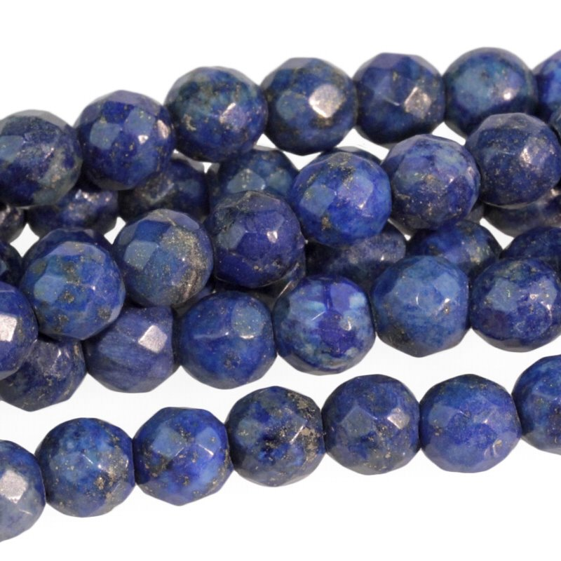 s59306 Stone Beads - 8 mm Faceted Round Large Hole - Lapis Lazuli (strand)