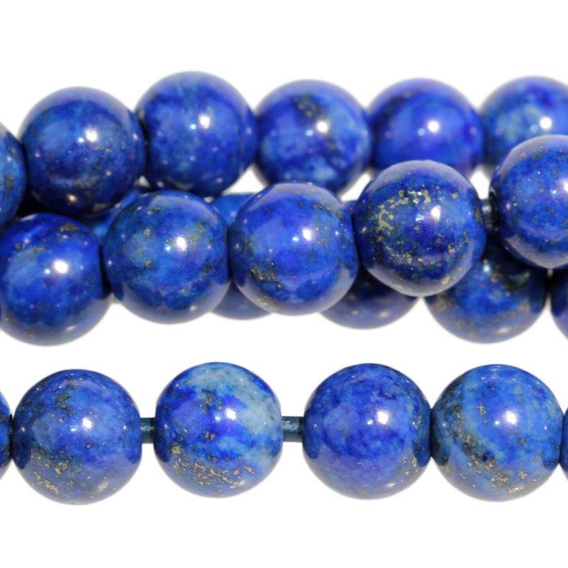 s59307 Stone Beads - 10 mm Round Large Hole - Lapis Lazuli (strand)