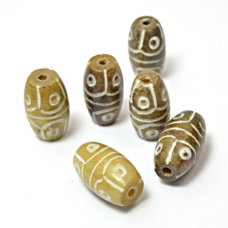 s59310 Stone Beads - 12 x 20 mm Carved Rice - New Jade (Brown)