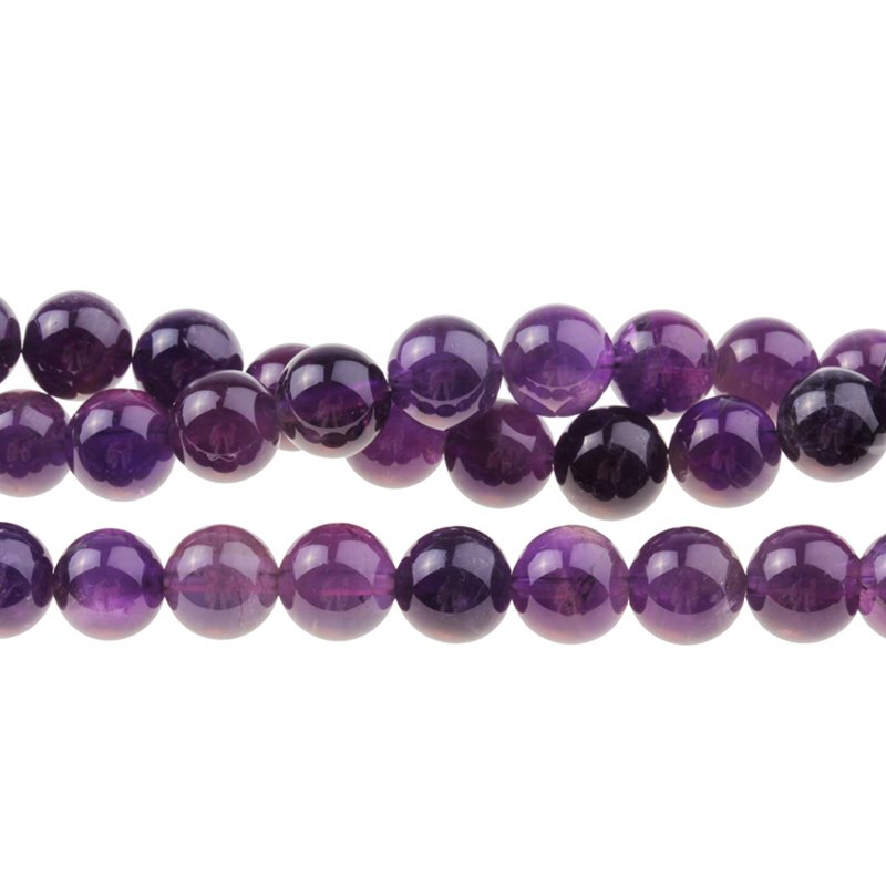 s59313 Stone Beads - 10 mm Round - Amethyst (8 inch strand)