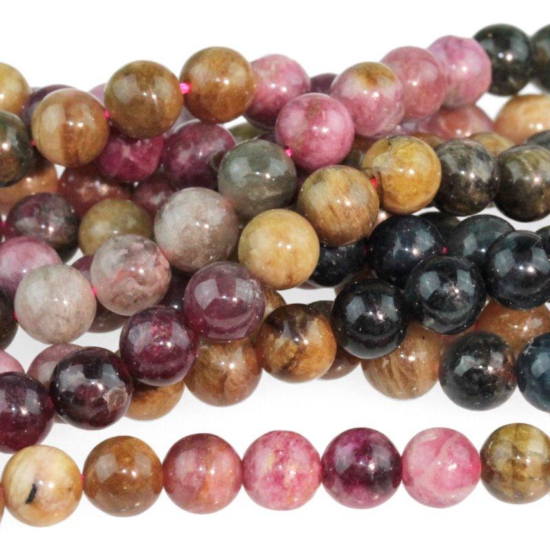 s59316 Stone Beads - 5 mm Round - Tourmaline - Multicolour Mix (strand)