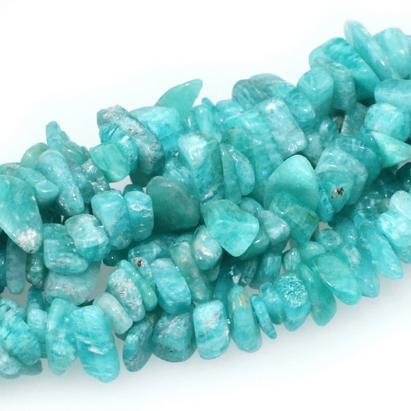 s59358 Stone Beads - 6-10 mm Chips - Mozambique Amazonite (strand)
