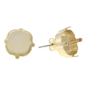s59696 Rhinestone Jewelry Findings - 12 mm Square Stud Earring Stone Setting - Yellow Gold Plated (Pair)