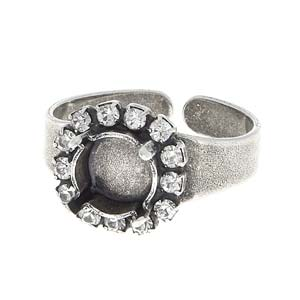 s59706 Rhinestone Jewelry Findings - 39 SS Ring Base Stone Setting with Swarovski Rhinestones - Antiqued Silver