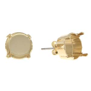 s59710 Rhinestone Jewelry Findings - 47 SS Stud Earring Stone Setting - Yellow Gold Plated (Pair)
