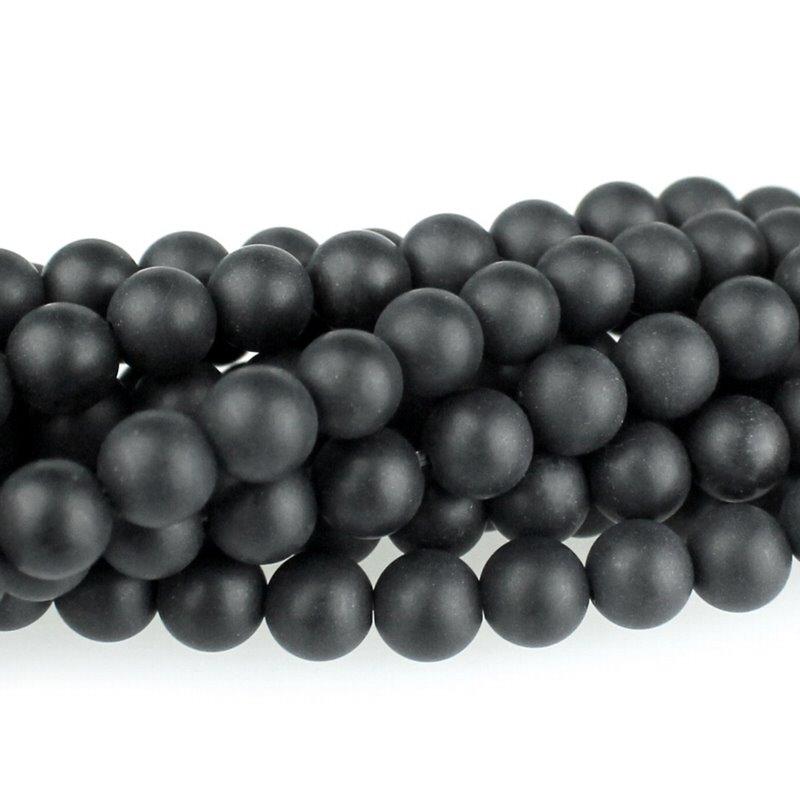 s59721 Stone Beads - 6 mm Round - Matte Black Onyx (strand)