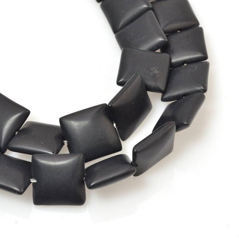 s59723 Stone Beads - 12 mm Square - Matte Black Onyx (strand)