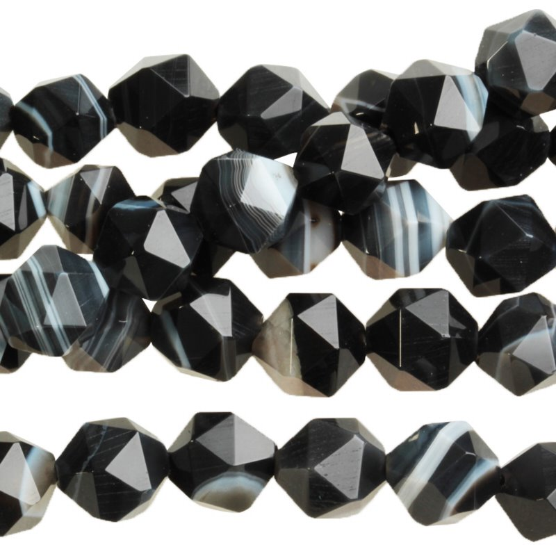 s59724 Stone Beads - 8 mm Star Cut Round - Sardonyx (strand)