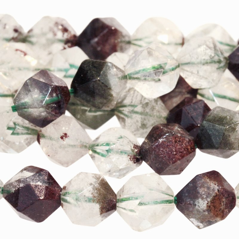 s59728 Stone Beads - 8 mm Star Cut Round - Green Lodalite Quartz (strand)