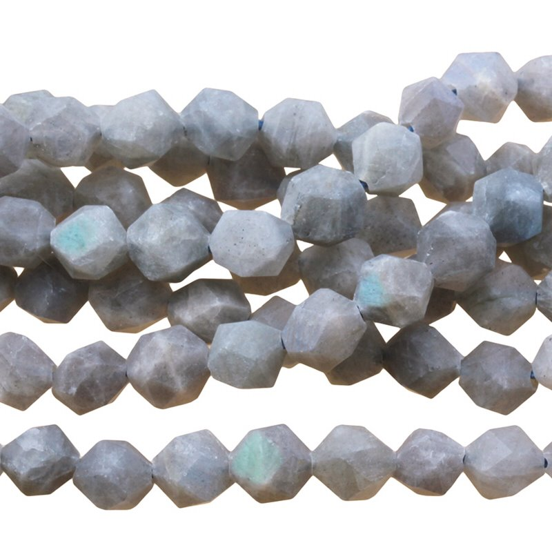s59729 Stone Beads - 6 mm Star Cut Round - Matte Labradorite (strand)
