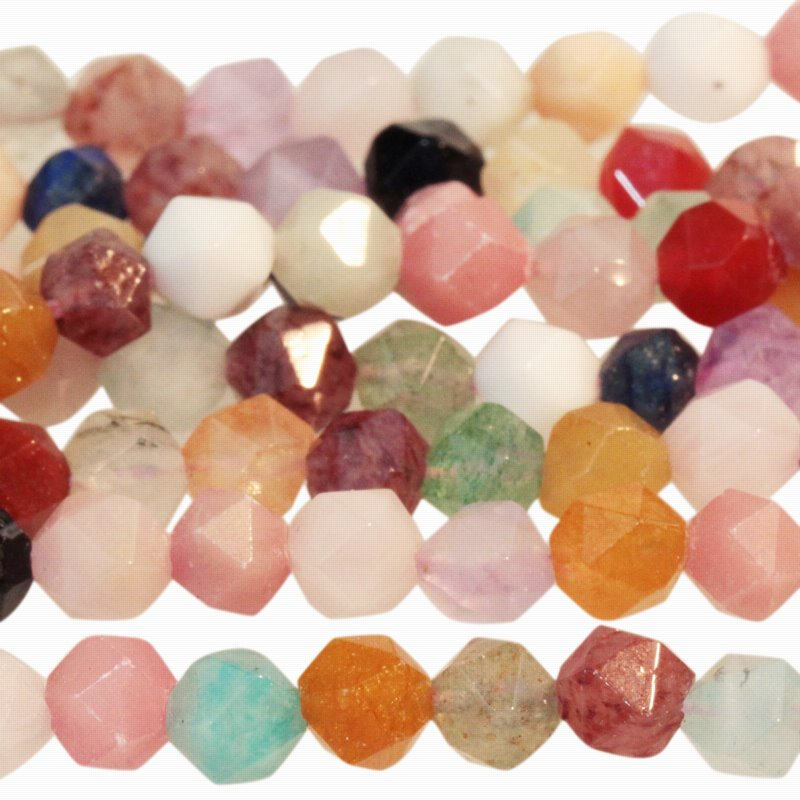s59732 Stone Beads - 6 mm Star Cut Round - Mixed Stone (strand)