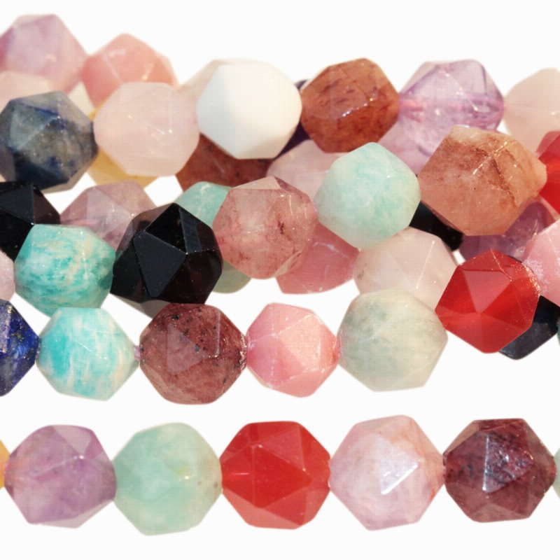 s59733 Stone Beads - 8 mm Star Cut Round - Mixed Stone (strand)