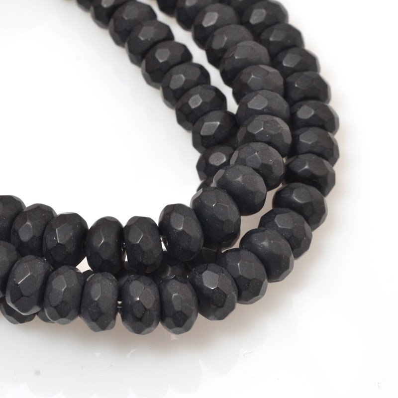 s59734 Stone Beads - 8 mm Faceted Rondelles - Matte Black Onyx (strand)