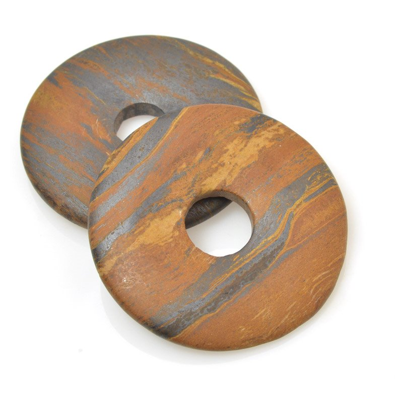 s59738 Stone Beads - 40 mm Donut - Matte Tiger Iron