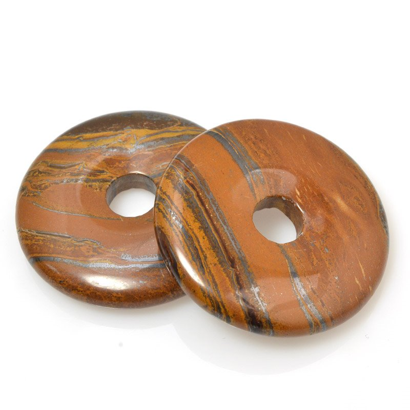s59739 Stone Beads - 40 mm Donut - Tiger Iron